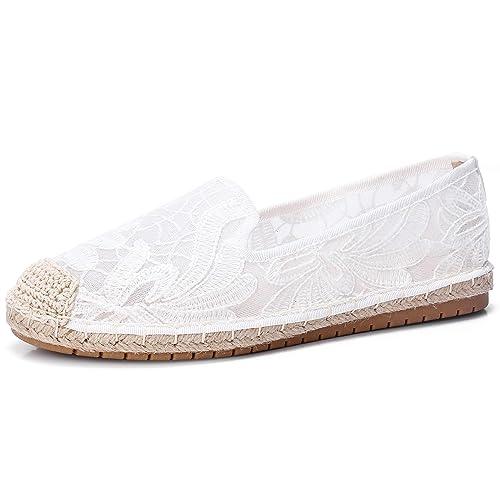 CAMEL CROWN Mocasines clásicos Casuales de Encaje con Malla para Mujer, Blanco (Blanco-