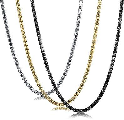 sailimue 3Pcs 3MM Collar de Cadena de Caja de Acero Inoxidable para Hombres Collar de Cadena de Cadena rolo Cadena de Venecia de los Hombres 41-81CM