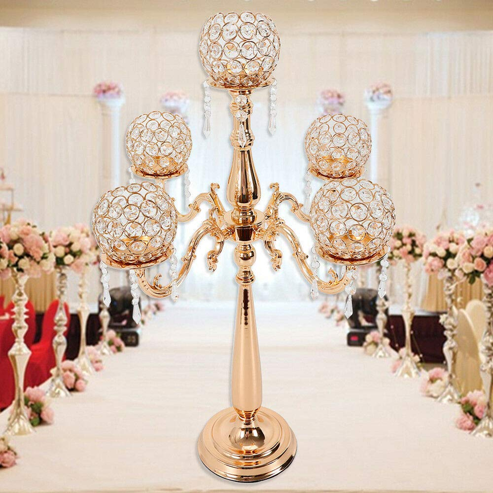 KPfaster 5 Arm Candle Holder Candelabra with Crystal Candlestick 75CM Candelabra for Wedding Dinner Party and Formal Event Centerpiece