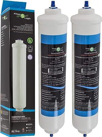 2 x Filtros de agua externo universal para frigoríficos americano Samsung / LG / Haier / Whirlpool / Bosch / Siemens / Daewoo: Amazon.es: Hogar