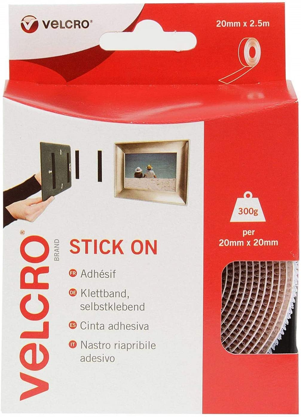 20mm x 2.5m White VELCRO Brand Stick On Super Strong Adhesive Tape