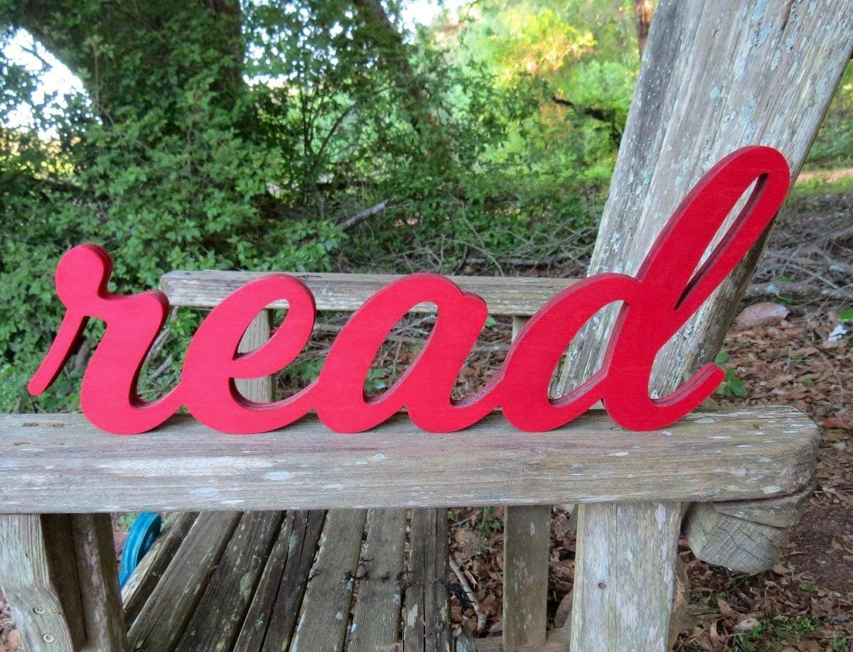 Amazon Com Celycasy Read Sign Read Reading Nook Classroom Decor Teacher Gift Wood Sign Home Decor Library Sign Nursery Decor Classroom Sign Read Banner Library Home Kitchen