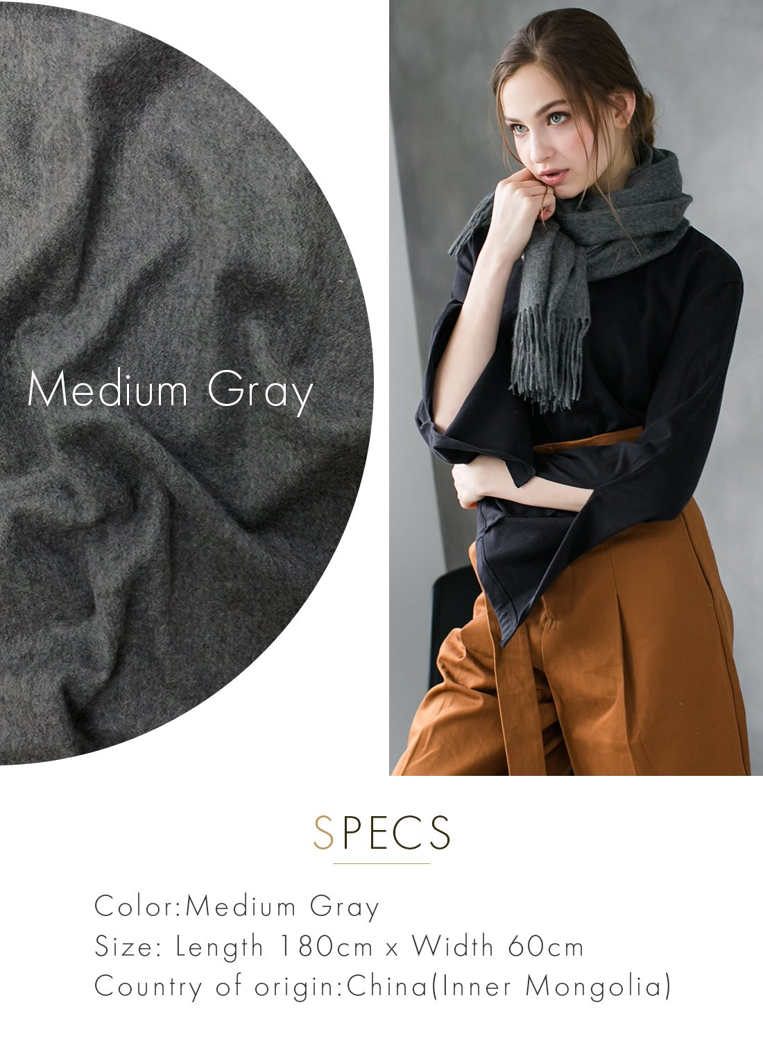 M Gray 100% Cashmere Shawl Stole Women's 2017 Gift Scarves Wrap Blanket A0514B2-5 by matti totti (Image #2)