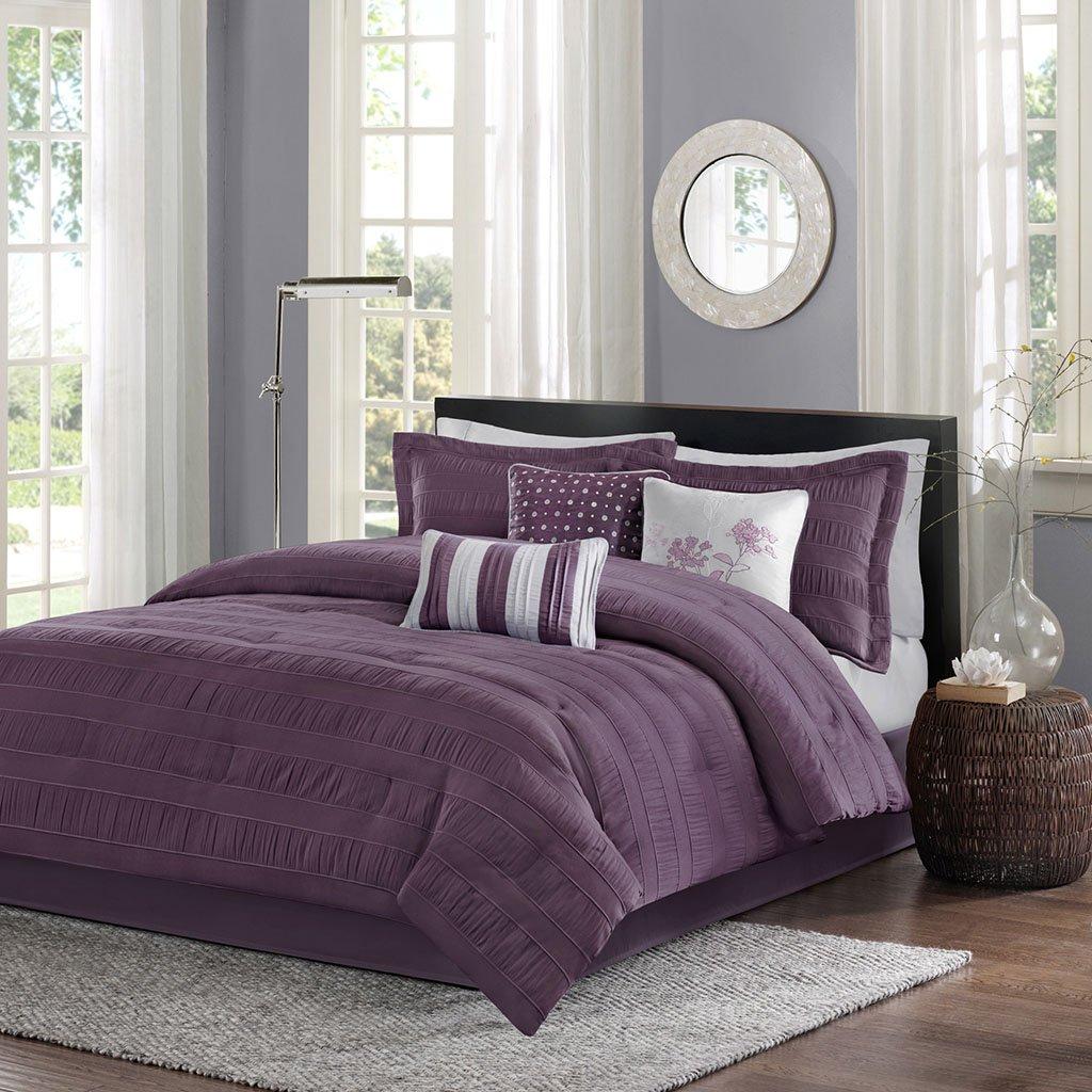 Madison Park Hampton Plumスタイリッシュなプレミアム品質エレガントな7 Pieceクイーンサイズ掛け布団セット、掛け布団、1ベッドスカート1、2点、3装飾枕 B074YHXHY3