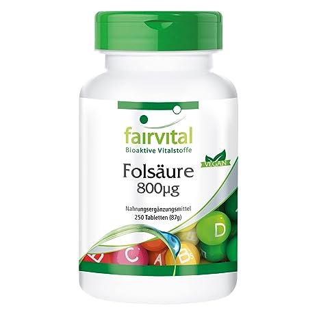 Acide folique 800mcg - 250 comprimés - vitamine B9 hydrosoluble (acide  folique) - substance 80378a8b0d9