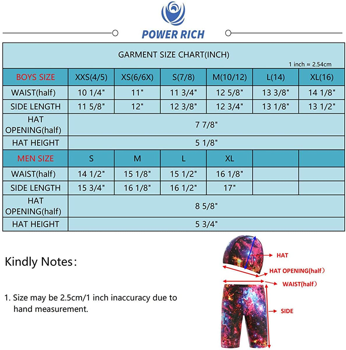 AS ROSE RICH Daddy and Boys Swim Shorts Printed Athletic Jammer Swimsuit with Hat
