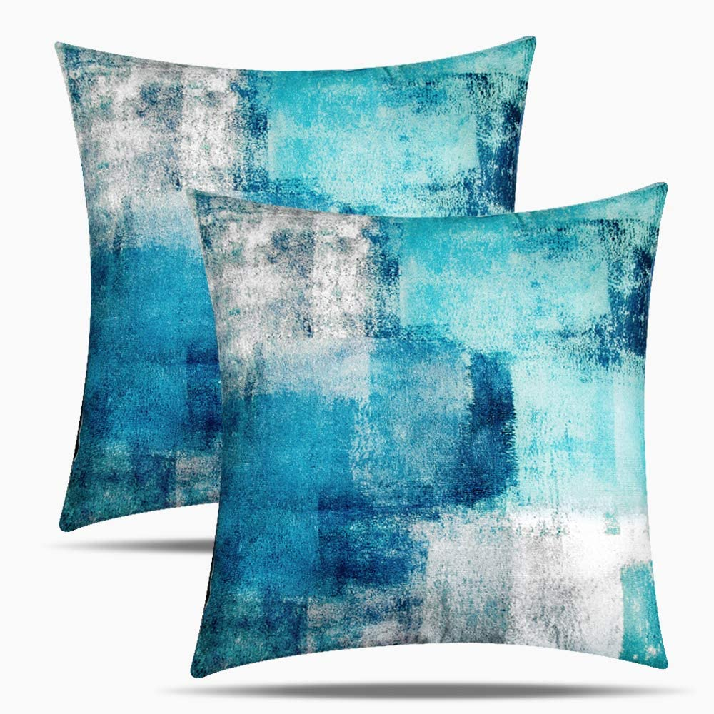 Eneston Teal Turquoise Pillow Covers and Blue Grey Home Decorative Throw Pillow Covers 18x18 Inch Set of 2 Accent Pillow Covers for Living Room Couch Sofa Bedroom Décor