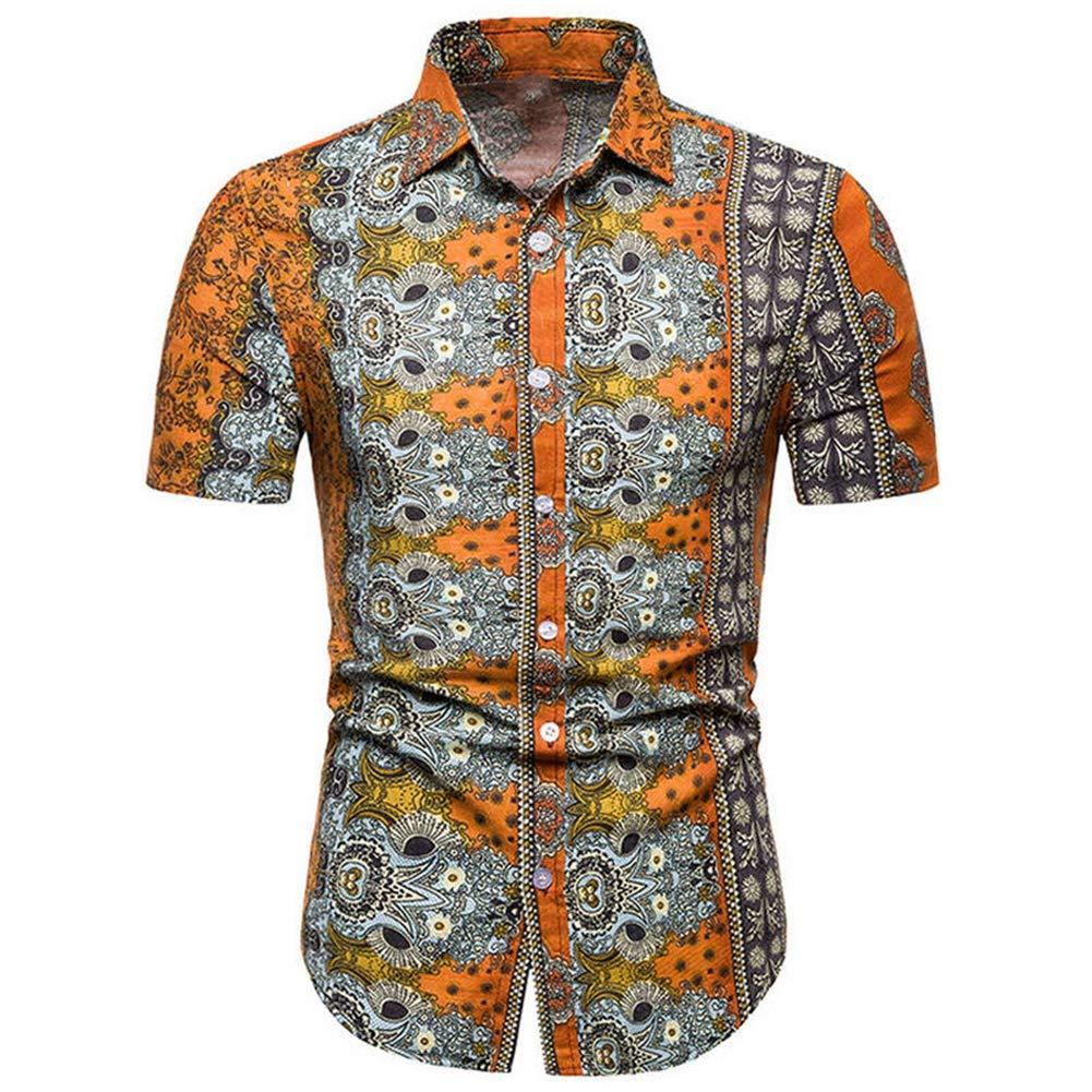 QHF Mens Hawaiian Printed Shirt Mens Summer Beach Short Sleeve Shirts Casual TC35-green,L