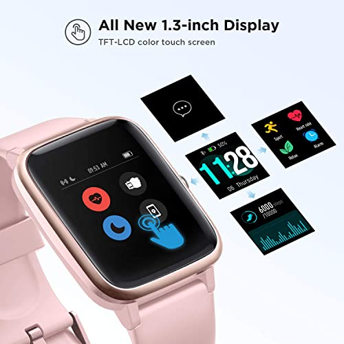 LETSCOM Smart Watch Fitness Tracker Heart Rate Monitor Step Calorie Counter Sleep Monitor Music Control IP68 Water Resistant 1.3 Color Touch Screen Activity Tracking Pedometer for Women Men Kids