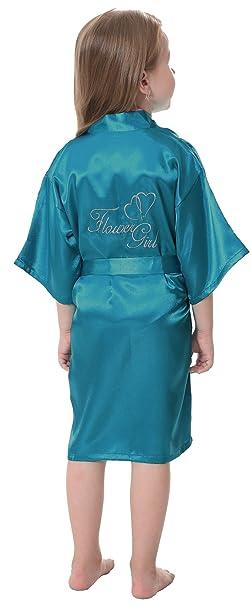 2aa0d639070 Amazon.com  JOYTTON Girl s Satin Kimono Robe With Embroidered Flower ...