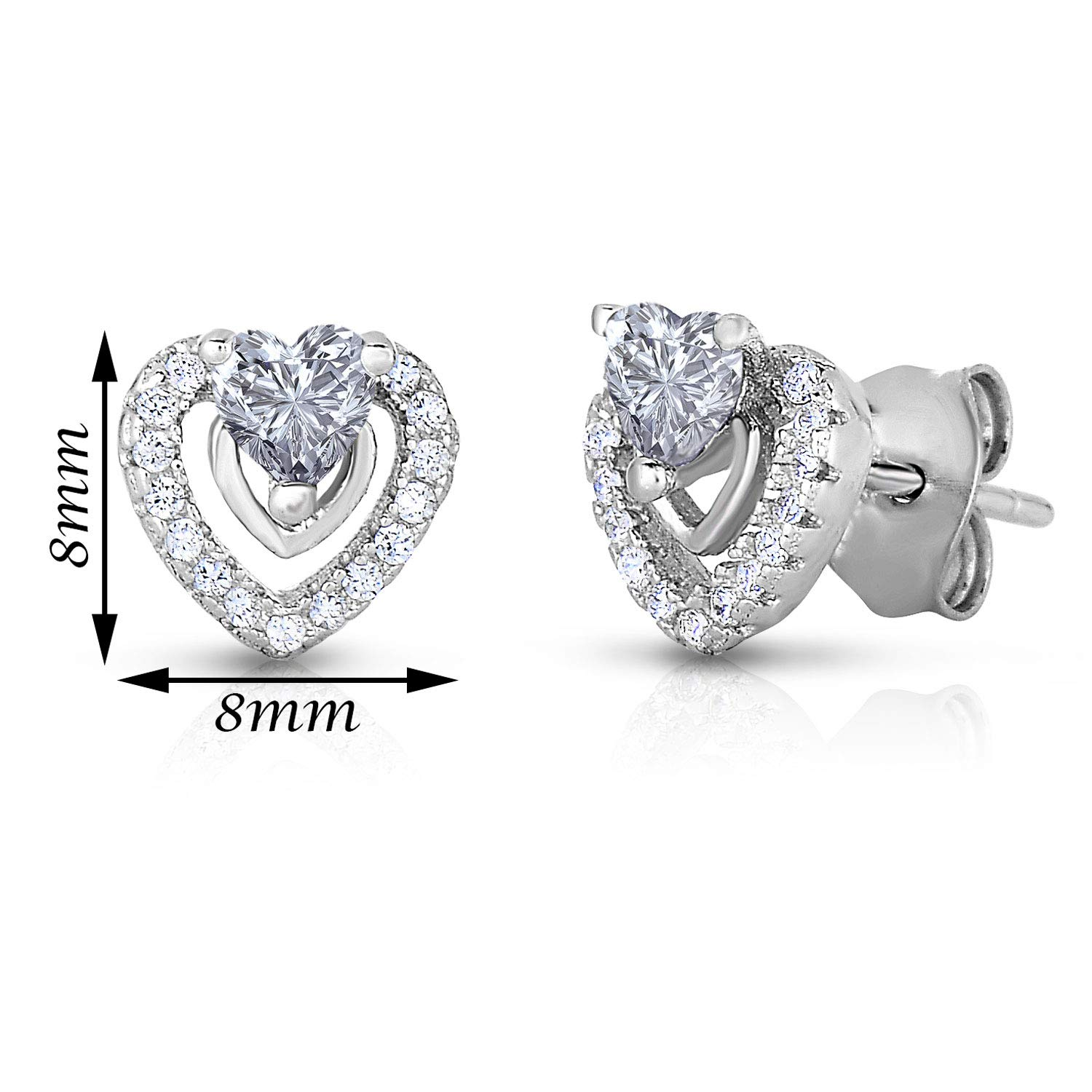 bac7de773 Amazon.com: Halo Heart Stud Earring in Sterling Silver with Simulated  Birthstone and CZ (April): Toys & Games