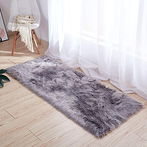 Yesland Faux Sheepskin Fur Area Rugs for Bedside Floor Mat – 2 x 5 ft – Grey Plush Sofa Cover Seat Pad for Bedroom
