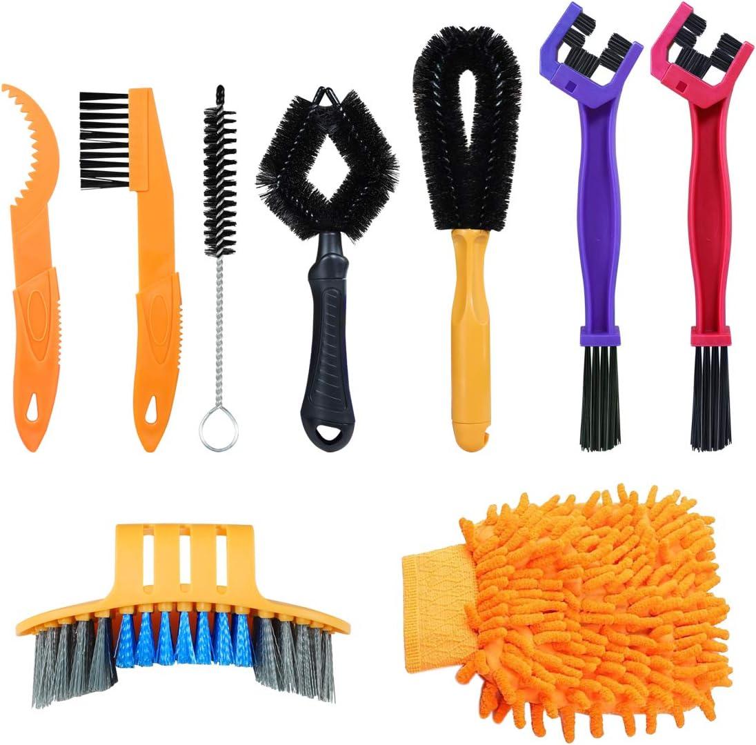 SANGGI 9 Pieza Cepillo Cepillo Limpieza de Bicicleta, Profesional Cepillo Limpieza Cadena Motocicleta, Herramienta para Limpiar Cadenas, Neumáticos, Piñones, Manchas y Suciedad