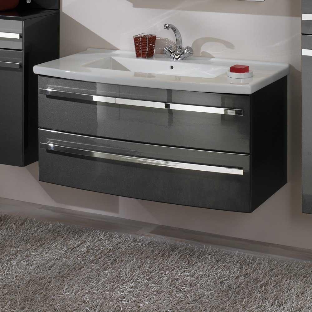 Hochglanz Waschtisch in Anthrazit Schubladen Waschbecken im Lieferumfang enthalten Mit Einlass-Waschbecken Ohne Pharao24