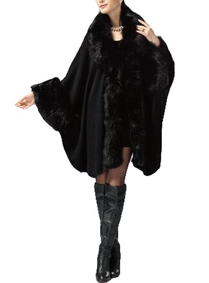 8571be749bc Women s Faux Fox Fur Trim Cape Wool Blend Cloak Winter Warm Coat Plus Size ( black