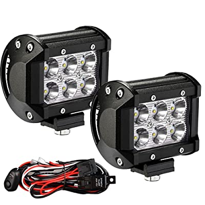 YITAMOTOR Led Light Bar 2PCS 4 inches 18W Square LED Work Light Bar Spot Led Pod light LED with Wiring Harness Waterproof for Jeep SUV Truck Car ATVs 4x4 4WD Boat Off road Driving Light 12V 24V: Automotive