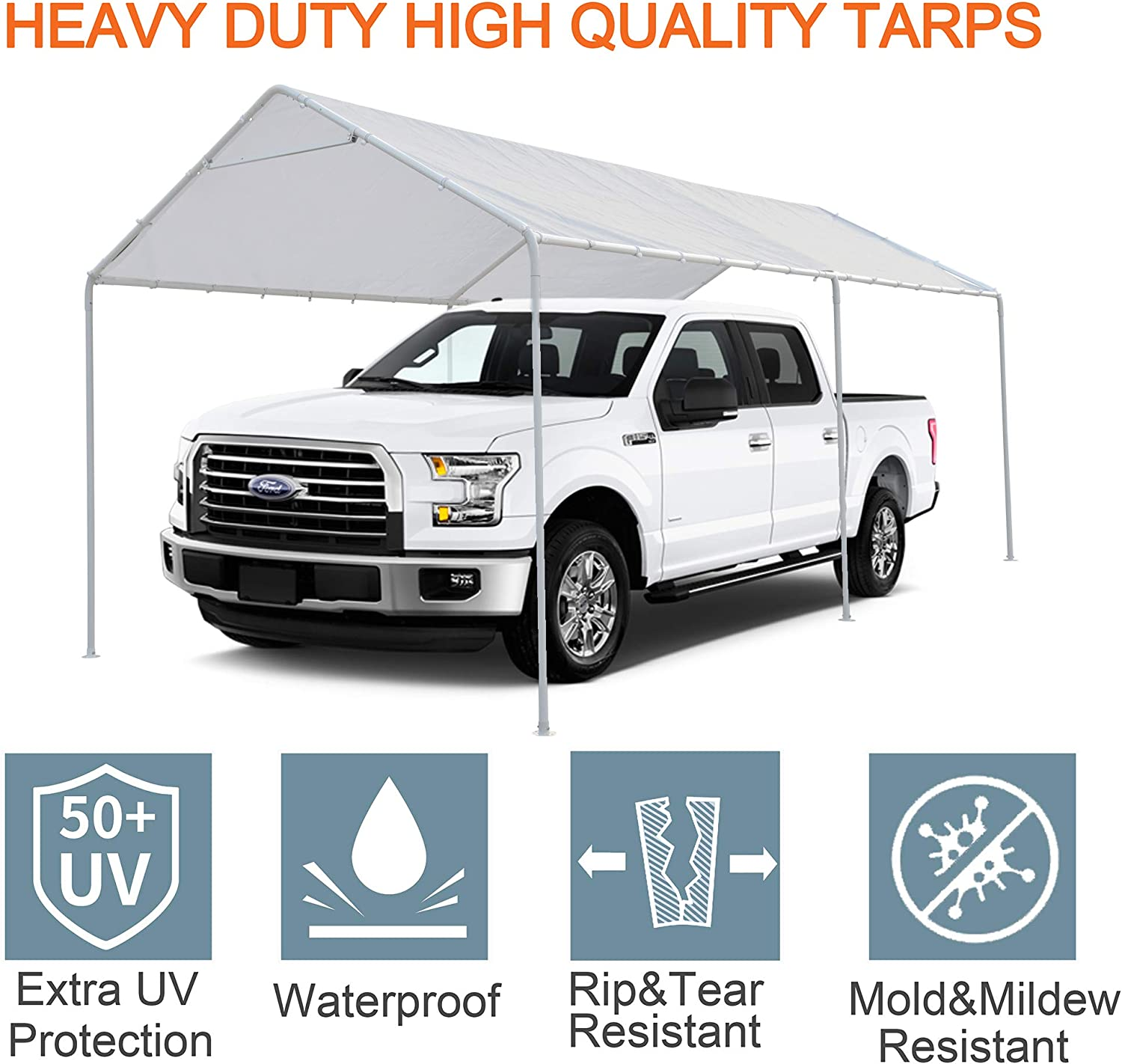 Thanaddo 10 x 20 Ft Carport Replacement Canopy Cover with 48 Free Ball Bungee Cords Garage Top Tent Shelter Tarp with Ball Bungee Cords,White Only Cover, Frame Not Included