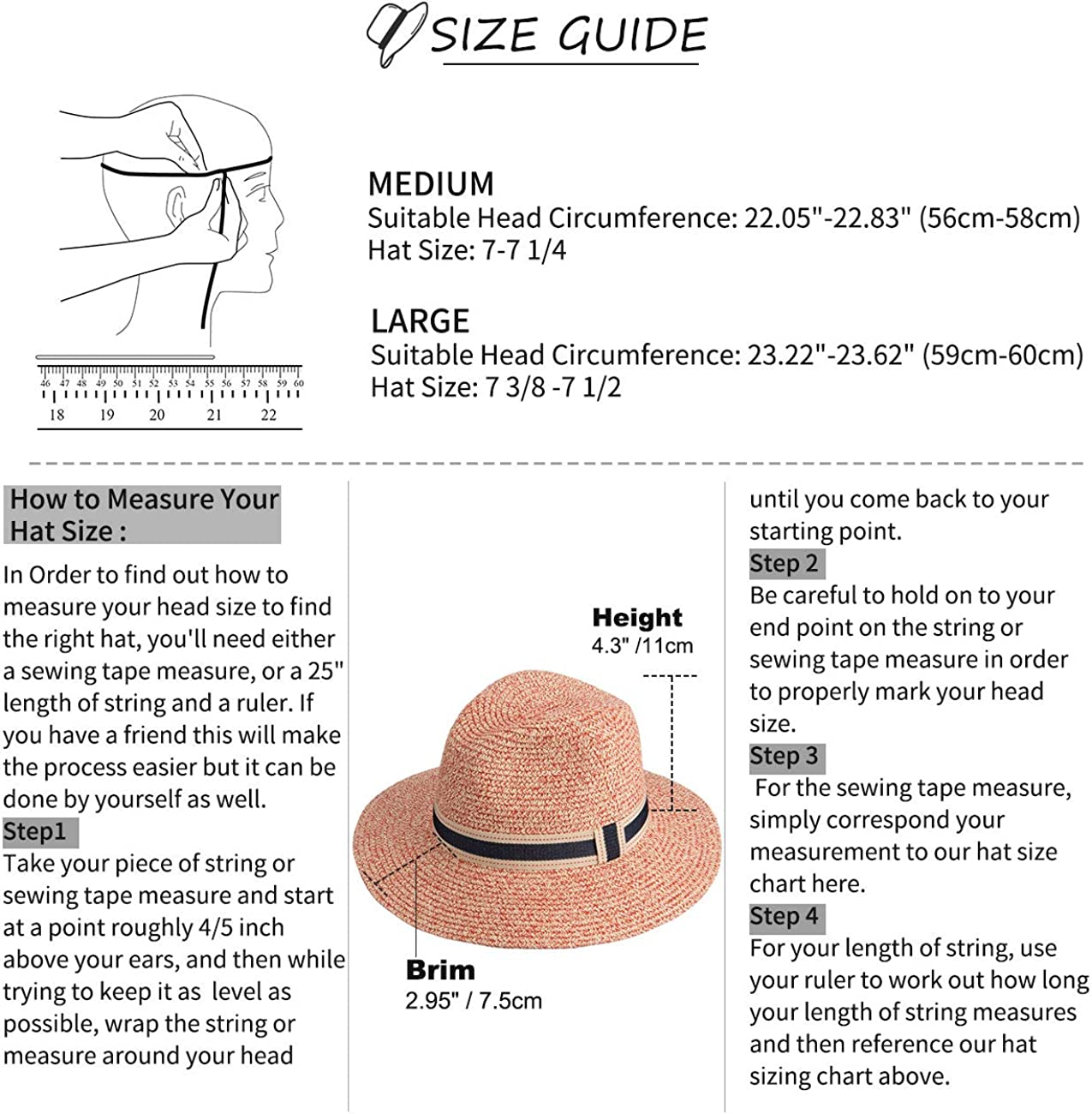 Maylisacc Femme Homme Chapeau de Soleil Panama en Paille L/éger Respirable Panama Hat pour Jardin Voyage Plage /ét/é