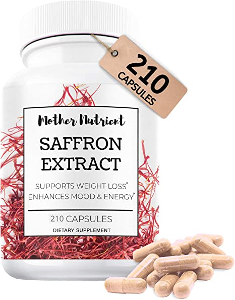 Mother Nutrient - Saffron Supplements - 210 Capsules, 88.5 mg, Powerful Antioxidant, Supports Eye & Heart Health, Aids in Mood Boost, Appetite Suppressant, Keto, Saffron Extract, 7 Month Supply