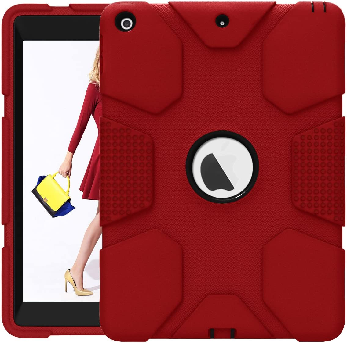 iPad 9.7 2017 2018 Case, ZHK Rugged Heavy Duty Shockproof Hybrid Hard PC Bumper Silicone Dual Layer Protective Case with Kickstand for iPad 5th 6th Generation - Red and Black