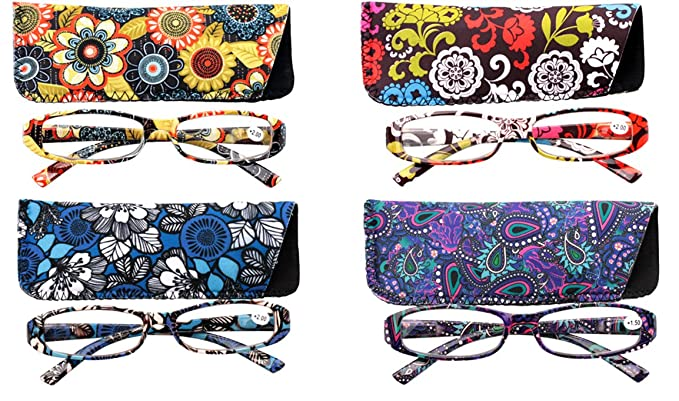 6889bd836a9 Image Unavailable. Image not available for. Colour  SOOLALA SOOLALA 4-Pair  Designer Fashionable Spring Hinge Rectangular Reading Glasses w Matching  Pouch