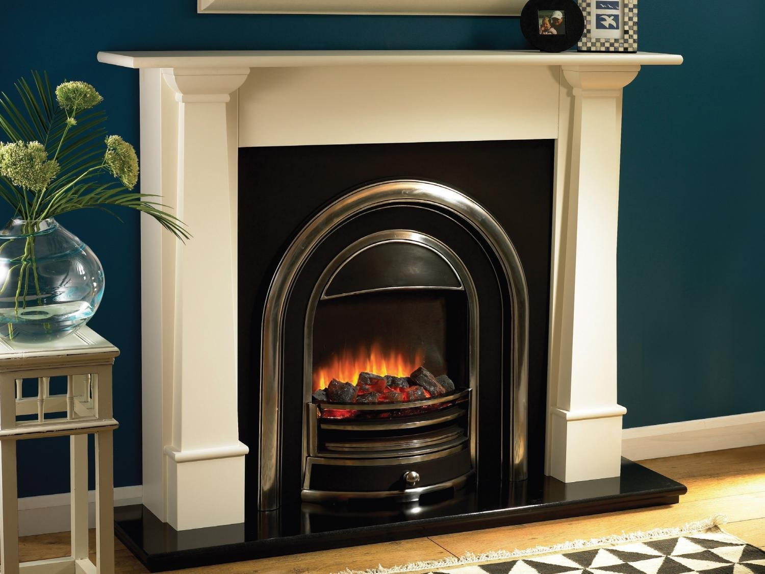 flamerite 792 54 inch coal electric fireplace suite ivory