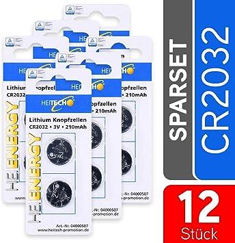 Batería de botón de litio HEITECH 12er Pack CR2032 Batería de botón de litio probada por el TÜV: Amazon.es: Electrónica