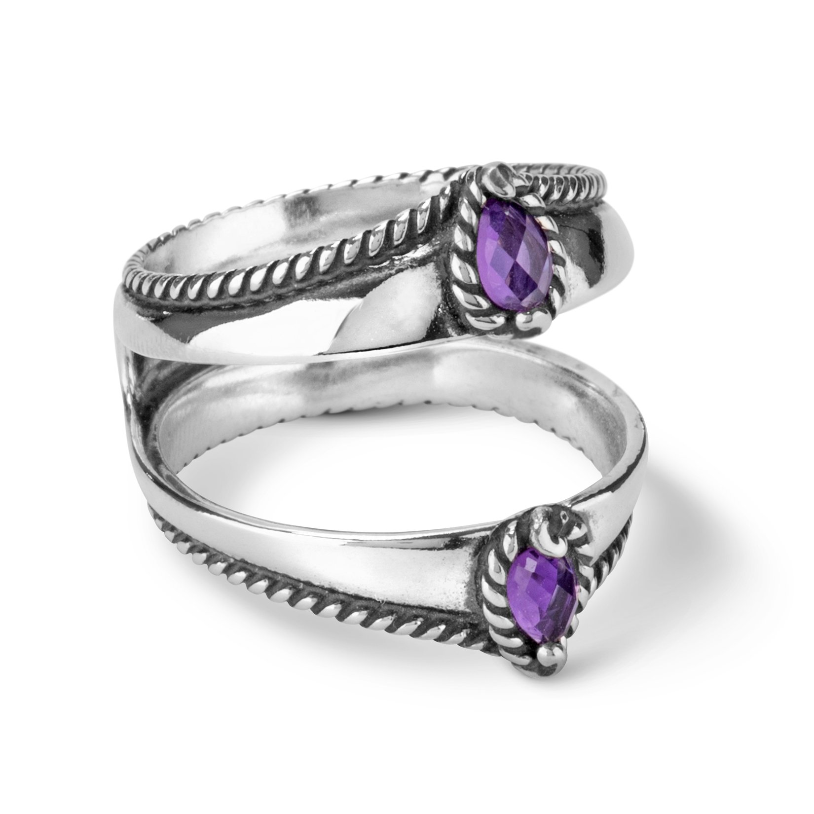Carolyn Pollack - Sterling Silver Amethyst Guard Ring- Size 7 - Possibilites Collection