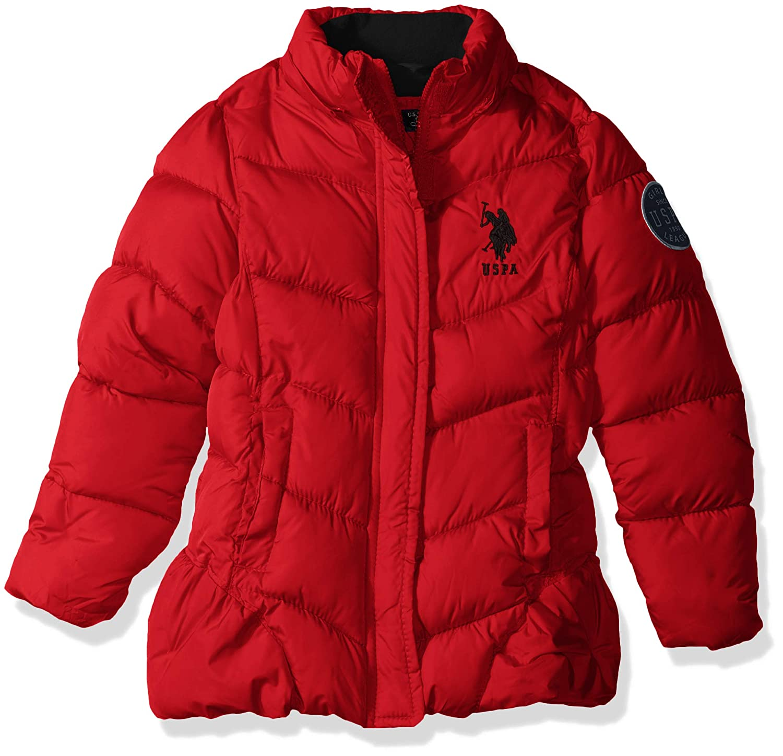U.S Polo Assn Girls Bubble Jacket with Faux Fur Trim Hood US Polo Association O/_UC02H