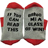 Must Rose Unisex Christmas Cotton Socks If You Can Read This Bring Me A Wine (One Size, Red)