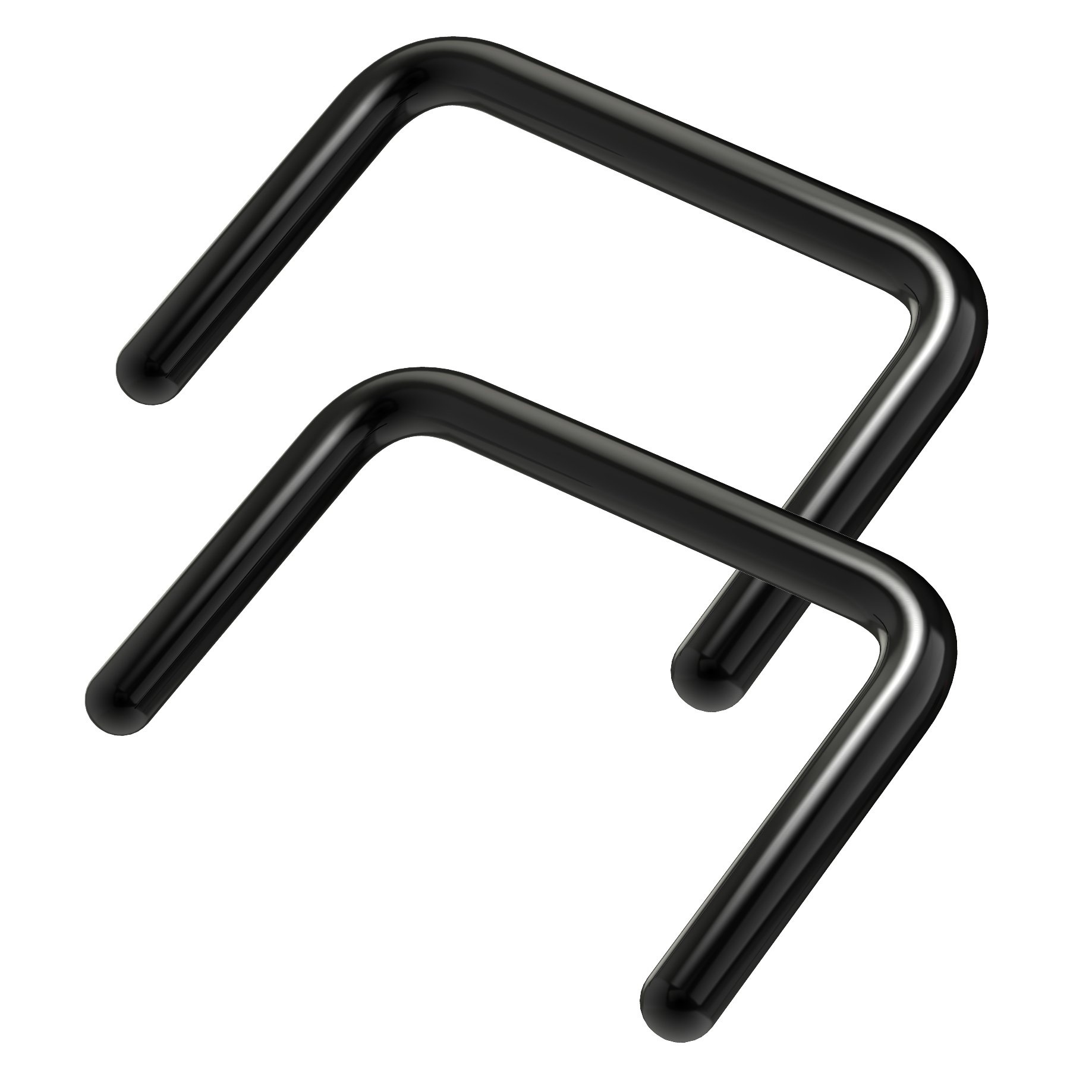 2pc PVD Black Septum Retainer 16g U-Shaped Piercing Ring 16 Gauge Staple Shape Jewelry 3/8 (10mm) by Bling Piercing