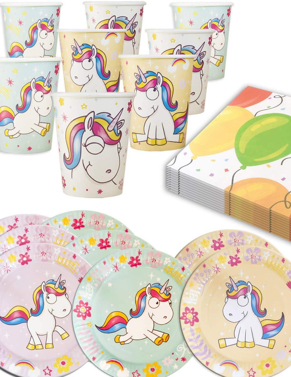 Home Tools.EU/®/ vasos de papel 6/personas varios colores /Unicornio Unicorn Fiesta de vajilla Flying Unicorn , cart/ón de platos, servilletas, 34/piezas