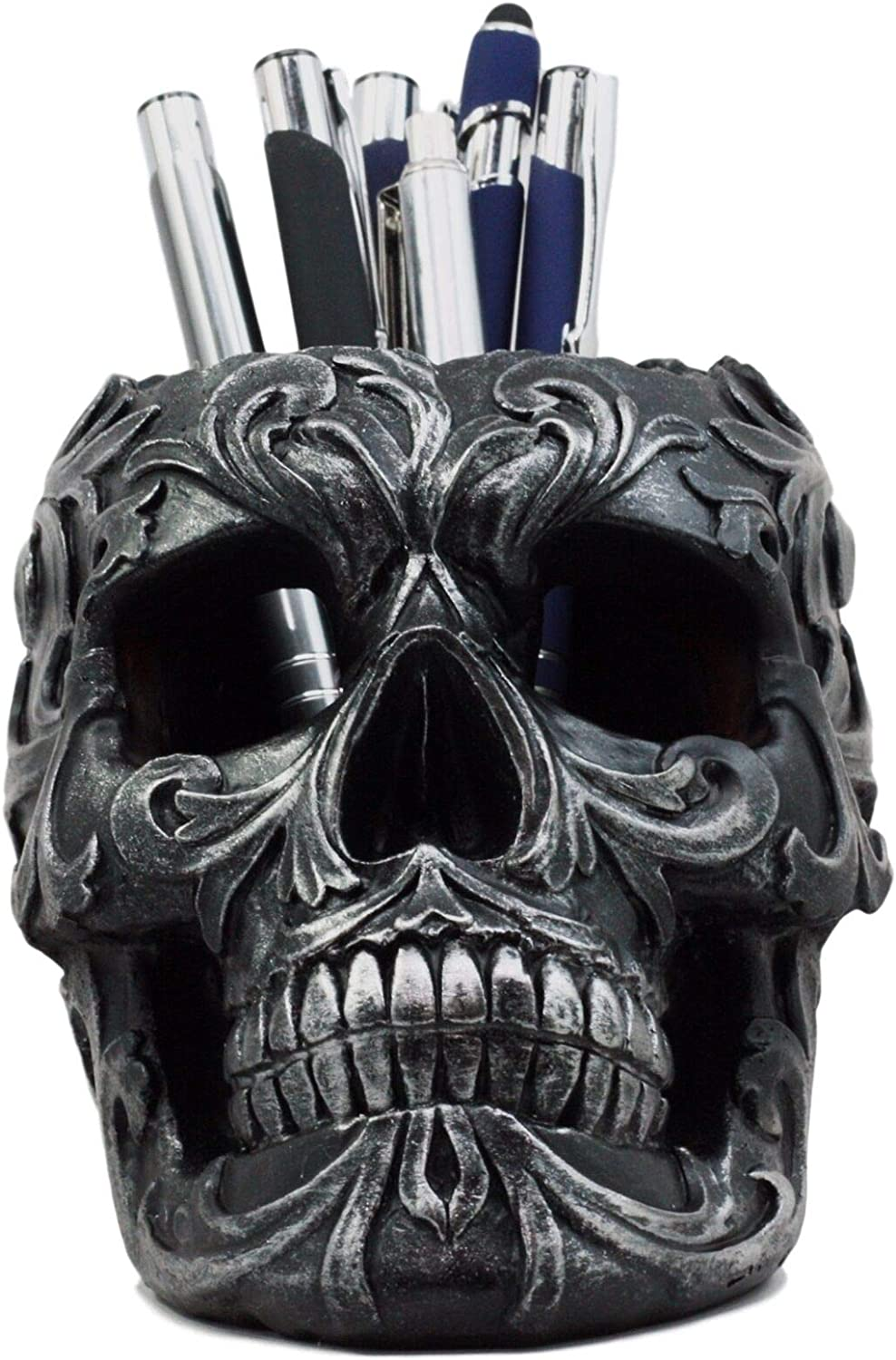 "Ebros Gift Tribal Tattoo Floral Skull Pen Holder Figurine 5.75""L Office Desktop Ossuary Skulls Decor Cranium Skeleton Head Stationery Holder As Halloween Macabre Graveyard Spooky Decorative Statue"