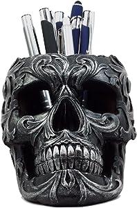 "Ebros Gift Tribal Tattoo Floral Skull Pen Holder Figurine 5.75""L Office Desktop Ossuary Skulls Decor Cranium Skeleton Head Stationery Holder As Halloween Macabre Graveyard Spooky Decorative Statue"