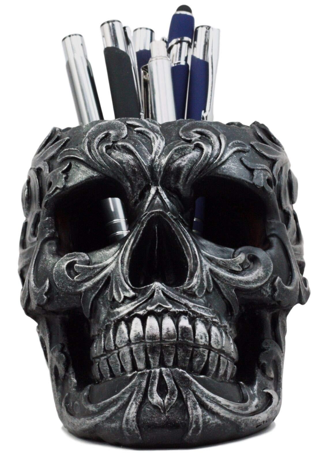Ebros Gift Tribal Tattoo Floral Skull Pen Holder Figurine 5.75''L Office Desktop Ossuary Skulls Decor Cranium Skeleton Head Stationery Holder As Halloween Macabre Graveyard Spooky Decorative Statue by Ebros Gift