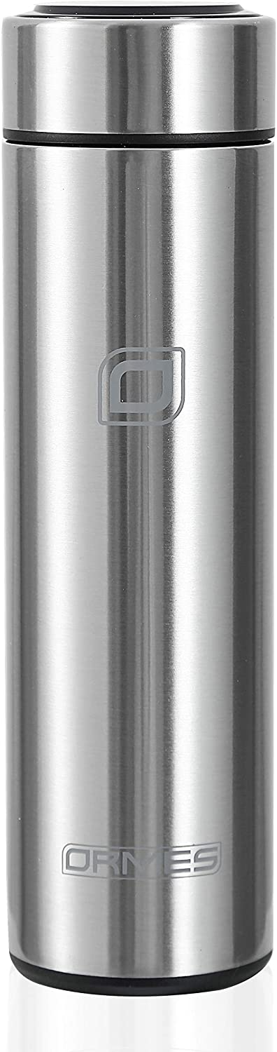 ORMES Intelligent Temperature Display Vacuum Insulated Water Bottle,Leak Proof,Stainless Steel Coffee Thermos, LCd Touch Screen Travel Mug BPA-free,17OZ -Inside a Gift Box (Black2)