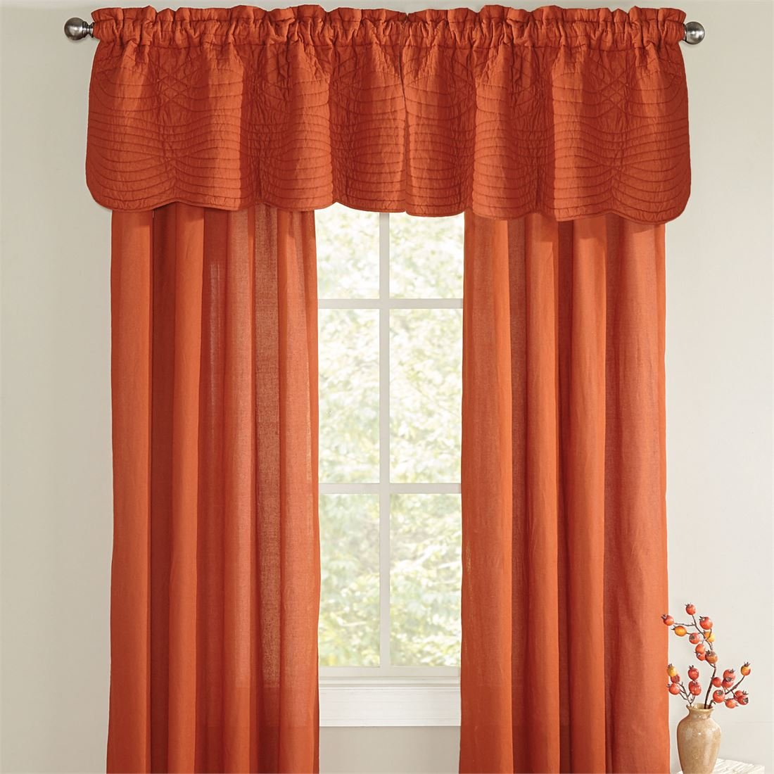 BrylaneHome Florence Rod Pocket Panel, 42 In X 84 In, Pair (Spice,0)
