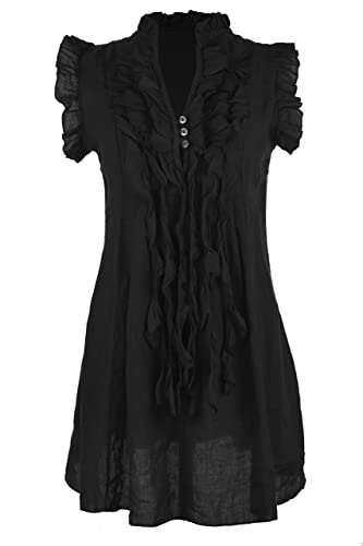 Ladies Women Italian Lagenlook Sleeveless 3 Button Ruffle Frill Tassel V Neck Linen Tunic Top Blouse...