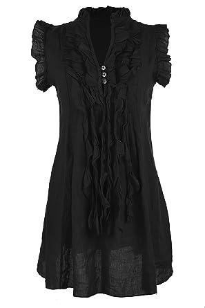 Sleeveless Button Lagenlook Ruffle Ladies 3 Texture Women Italian JcF135ulKT