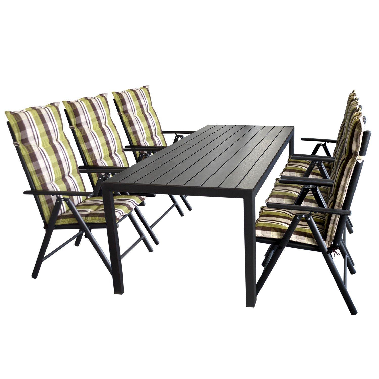 Gartengarnitur Gartentisch, Polywood Tischplatte Schwarz, Aluminiumrahmen, 205x90cm + 6x Hochlehner, Aluminiumgestell, Textilenbespannung Schwarz + 6x Polsterauflage Naxos