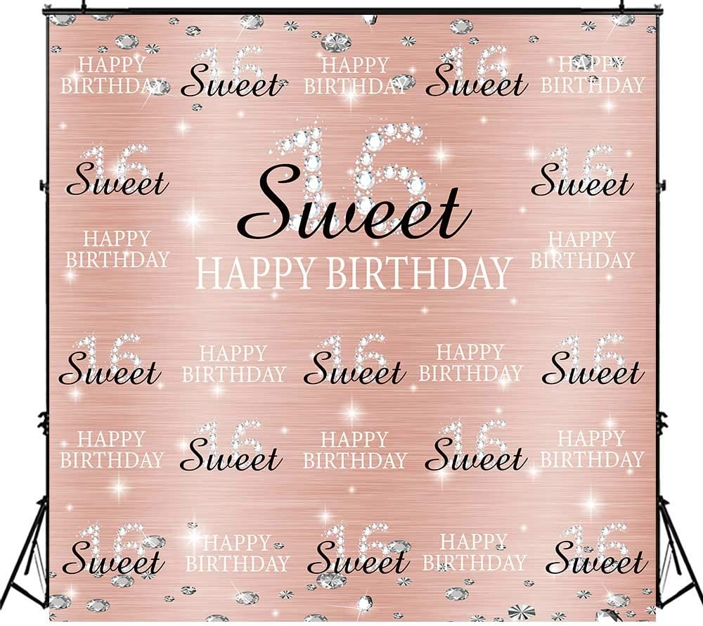 Amazon Com Funnytree 6x6ft Rose Gold Pink Sweet 16th Birthday Party Backdrop Princess Girl Step And Repeat Diamonds Glitter Shiny Photography Background Sixteen Years Old Age Decoration Banner Photo Booth Camera