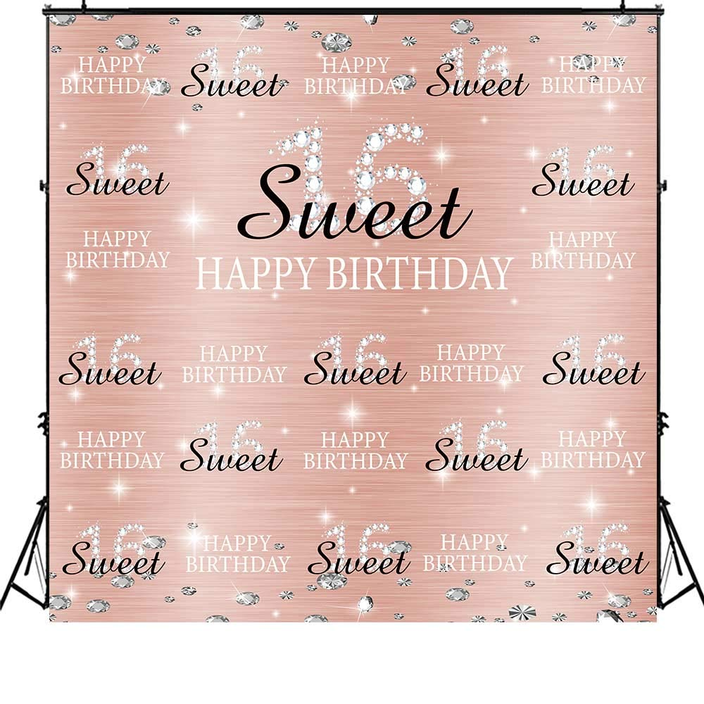 Funnytree 6x6ft Rose Gold Pink Sweet 16th Birthday Party Backdrop Princess Girl Step and Repeat Diamonds Glitter Shiny Photography Background Sixteen Years Old Age Decoration Banner Photo Booth by Funnytree