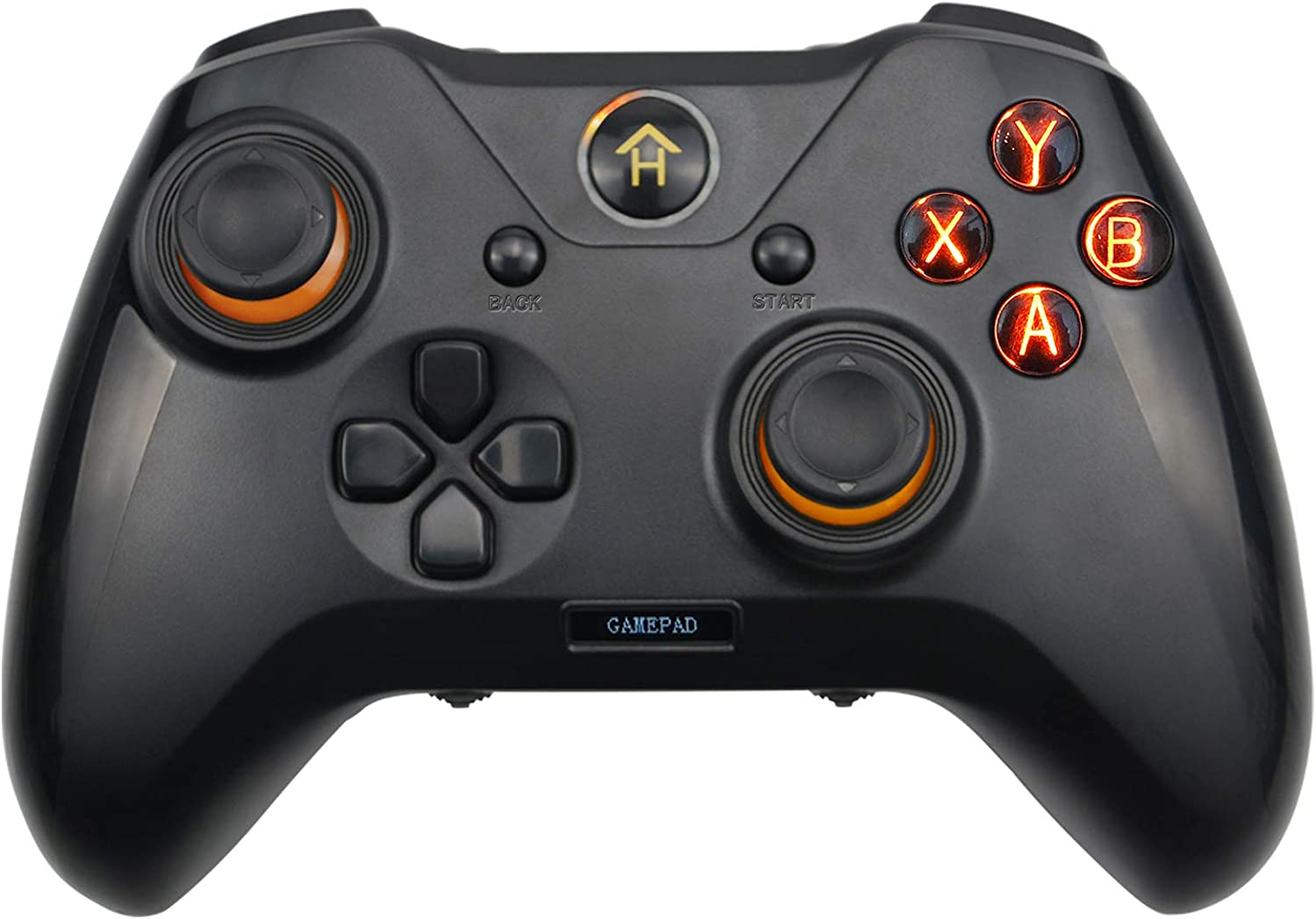 A Adwits Wired Programmable Gamepad, 3-in-1 USB Gaming Controller for Windows PC Playstation 3 Android, Improved Ergonomic Design with Shoulders Buttons Dual Vibration, Black