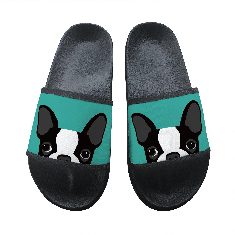 Boston Terrier Summer Slippers Non-Slip Beach Sandals House Shoes Soft Floor Slipper Open Toe 10 B(M) US