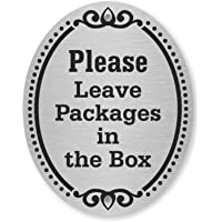 """SmartSign """"Please Leave Packages in The Box"""" Diamond Plate Door Sign   4"""" x 5"""" Aluminum"""