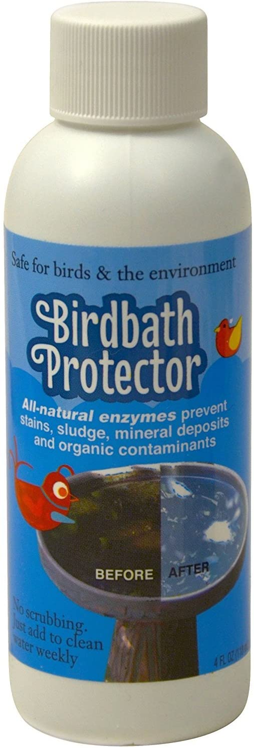 Birdbath Protector The Best Birdbath Cleaner that Prevent Stains and Mineral Deposits. All Natural Enzymes Help Keep Your Birdbaths looking Like Brand New and is Safe for Birds. 4oz.: Garden & Outdoor