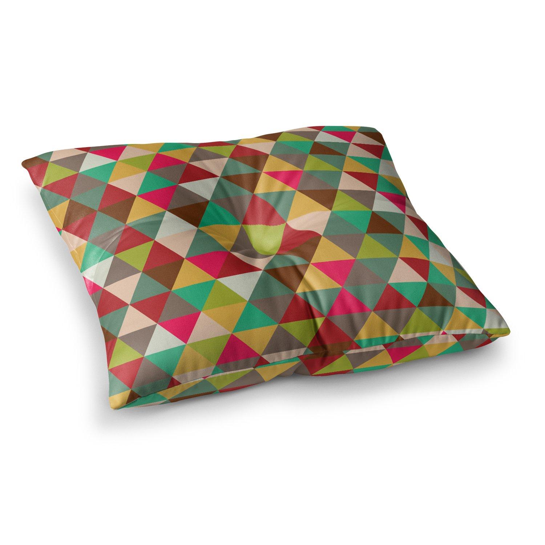 Kess InHouse Kess Original Autumn Triangle Spectrum Multicolor Geometric 23 x 23 Square Floor Pillow