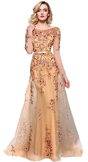 9bf88adc852 Meier Women's Illusion Long Sleeve Embroidery Prom Formal Dress