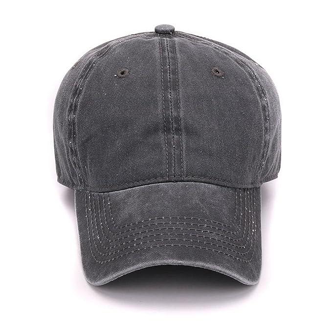 fa6c989e738 Amazon.com  HBBCEED Women Men Plain Dyed Sand Washed Soft Cotton Blank No  Embroidery Hat Baseball Cap  Clothing