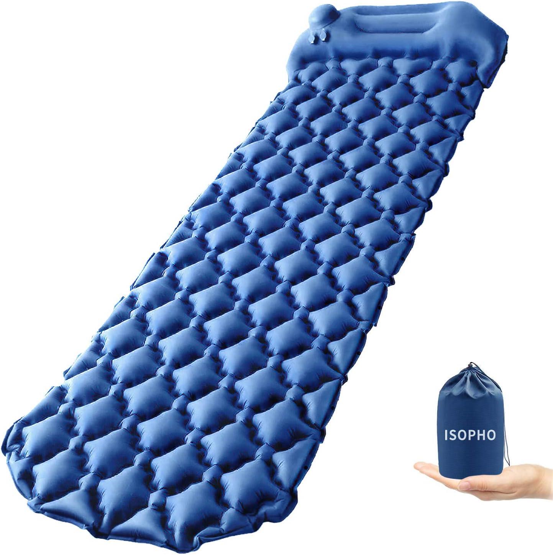 ISOPHO Colchoneta Inflable, colchón de Camping Ultraligero con Almohada, colchoneta de Aire portátil de 191 * 56 * 6 cm, colchonetas Impermeables ya ...